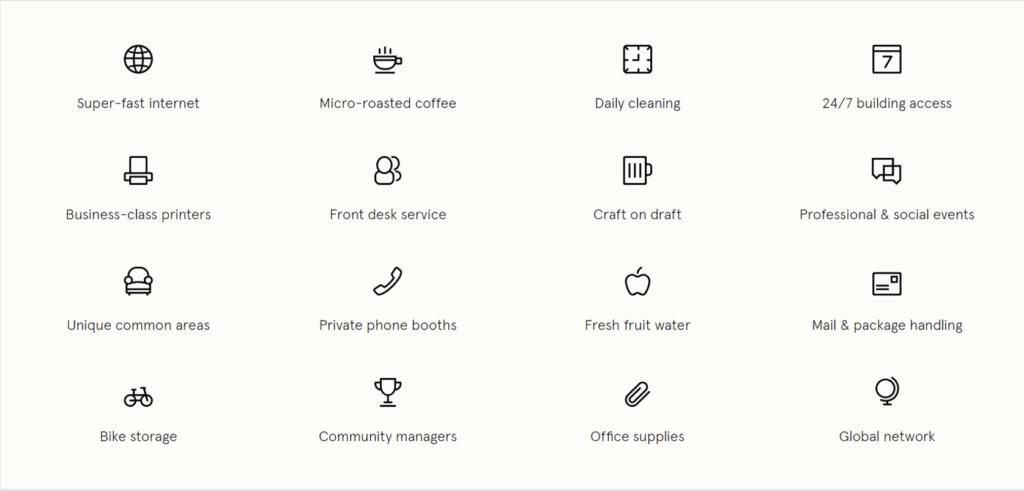 WeWork's amenities
