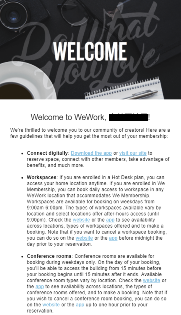 mail from WeWork